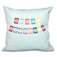Discount Happy Birthday Print Outdoor Throw Pillow