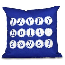 Happy Holidays Word Print Outdoor Throw Pillow