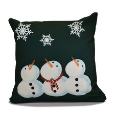 Decorative Snowman Print Outdoor Throw Pillow