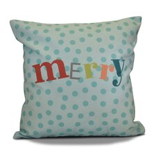 Merry Decorative Word Print Outdoor Throw Pillow