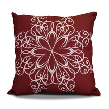 Decorative Snowflake Print Outdoor Throw Pillow