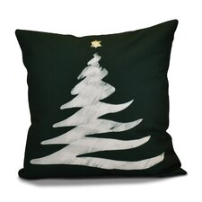Decorative Christmas Tree Print Outdoor Throw Pillow
