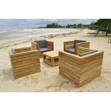 Discount Pacific 5 Piece Deep Seating Group with Cushion