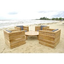 Pacific 5 Piece Deep Seating Group with Cushion