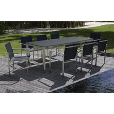 Modern Stainless Steel 9 Piece Dining Set