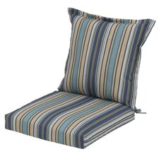Quebec Stripe Pacific Pillow Back Outdoor Dining Chair Cushion