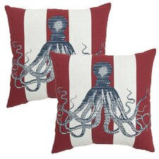 Octopus Print Outdoor Throw Pillow (Set of 2)