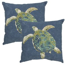 Turtle Print Outdoor Throw Pillow (Set of 2)