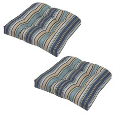 Quebec Stripe Pacific Tufted Outdoor Seat Cushion (Set of 2)