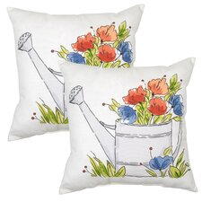 Watering Can Outdoor Throw Pillow (Set of 2)