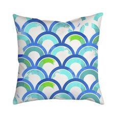 Fish Scales Watercolor Geometric Indoor/Outdoor Throw Pillow