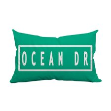 Miami Ocean Drive Textual Indoor/Outdoor Lumbar Pillow