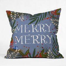 Modern Joy Laforme Christmas Merry Merry Wreath Indoor/Outdoor Throw Pillow