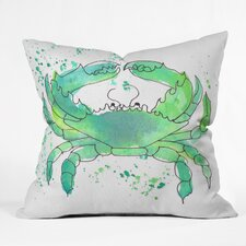 Seafoam Green Crab by Laura Trevey Indoor/Outdoor Throw Pillow