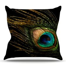 Peacock by Alison Coxon Outdoor Throw Pillow