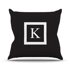 Monogram Solid Outdoor Throw Pillow