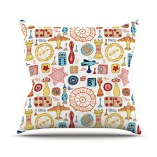 Vintage Games by Jane Smith Outdoor Throw Pillow