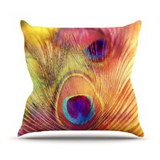 Peacock Feather Outdoor Throw Pillow