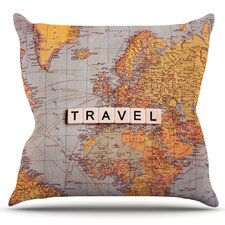 Cheap Travel Map by Sylvia Cook Outdoor Throw Pillow
