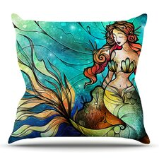 Serene Siren by Mandie Manzano Outdoor Throw Pillow