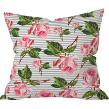 Allyson Johnson Roses and Stripes Indoor/outdoor Throw Pillow