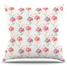 Cross Stitch Flowers by Laura Escalante Outdoor Throw Pillow