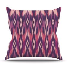 Purple Ikat by Amanda Lane Outdoor Throw Pillow