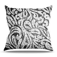 Monochrome Paisley by Alveron Outdoor Throw Pillow