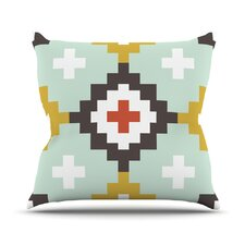 Gold Mint Moroccan Diamonds Outdoor Throw Pillow