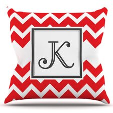 Monogram Chevron Original Outdoor Throw Pillow