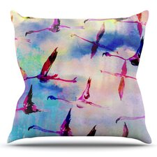 Flamingo in Flight by Nikki Strange Outdoor Throw Pillow