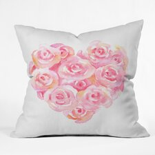 Wonder Forest Rose Heart Throw Pillow