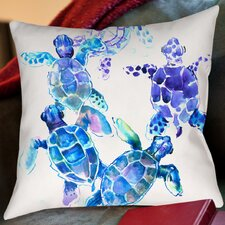 Sea Turtles Blue Outdoor Throw Pillow