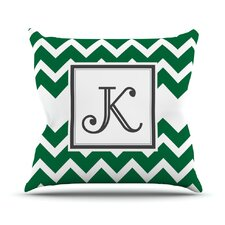 Monogram Chevron Outdoor Throw Pillow
