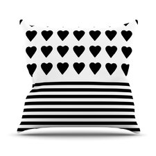 Heart Stripes by Project M Outdoor Throw Pillow