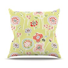 Bargain Folky Floral by Gill Eggleston Outdoor Throw Pillow