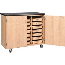 Tote Portable 21 Compartment Classroom Cabinet with Bins