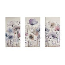 Classic Poppy 3 Piece Graphic Art Wrapped on Canvas Set