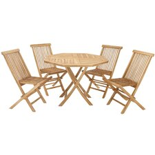 Teak Wood Folding Chair 5 Piece Dining Set