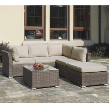 Patio 4 Piece Sectional Seating Group with Cushions
