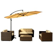 Best  Patio Wicker 5 Piece Deep Seating Group with Cushions