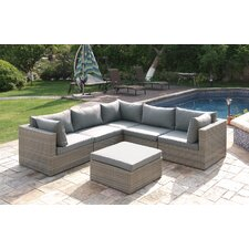 Wicker 6 Piece Sectional Seating Group Set