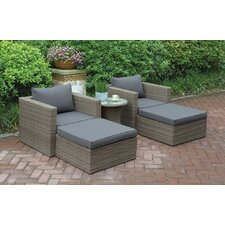 Wicker 5 Piece Seating Group with Cushion