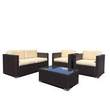 Wicker 4 Piece Deep Seating Group with Cushions