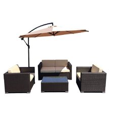 Patio Wicker 5 Piece Deep Seating Group with Cushion