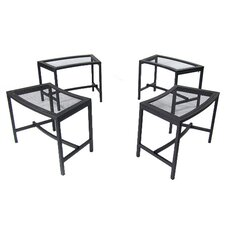 Mesh Metal Patio Fire Pit Bench (Set of 4)