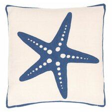 Starfish Denim Indoor/Outdoor Throw Pillow