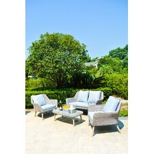 Weimar Outdoor Wicker Rattan 4 Piece Lounge Seating Group