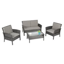 Spiaggia 4 Piece Lounge Seating Group with Cushion