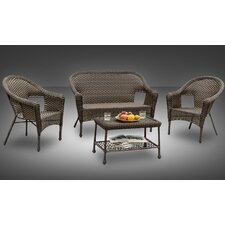 Sophia All-Weather Casual Conversation 4 Piece Deep Seating Group